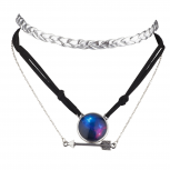 SilverTone Nebula Celestial multi Choker Layer Necklace Set 3PC