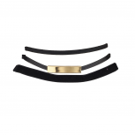 Black Suede Leather Gold Bar Velvet Choker Set (3pcs)