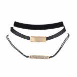 Black Velvet Leather Cord Gold Tone Crystal Choker Set