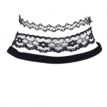 Black Gothic Tattoo Lace Applique Velvet Choker Set (3PCS)