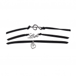 Black Suede Burnished Silver Tone Music Notes Love Choker Set