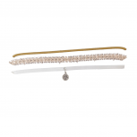 Tan Suede Lace White Leather Pave Rhinestone Choker Set