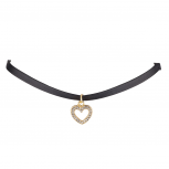 Black PU Leather and Gold Tone Pave Cut Out Heart Pendant Choker