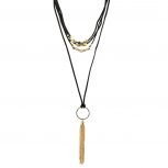 Black and Gold Tone Suede Lariat Style Tassel Layered Necklace
