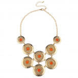 Gold Tone Orange Circle Hammered Statement Bib Necklace