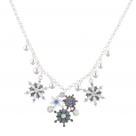 Silver tone Christmas Xmas Holiday Snowflake Statement Necklace