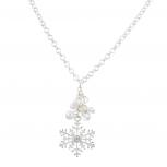 Silvertone Christmas Xmas Holiday Snowflake Pendant Necklace