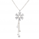 Silvertone Christmas Holiday Snowflake Cluster Tassel Necklace