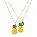 Gold Tone Enamel Pineapple Rhinestone BFF Necklace Set