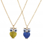 Includes gold and blue glitter novelty owl charms for you and your bestie