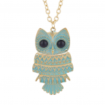 Gold Tone Black Eye Washed Turquoise Enamel Owl Pendant Necklace