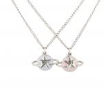 Silver Tone Enamel Planet Saturn Star BFF Best Friend Necklaces