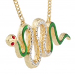 Gold Tone Green Enamel Red Eye Crystal Rhinestone Snake Necklace