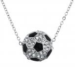 SilverTone faux Rhinestone Soccer Soccer Mom Pendant Necklace