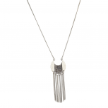 burnished Silver Aztec Etch Tassel Fringe Pendant Boho Necklace