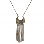 Burnished Gold Tribal Tassel Pendant Necklace