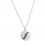 Script J Initial Personalized Disc Pendant Necklace