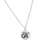 Script K Initial Personalized Disc Pendant Necklace