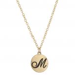 Script M Initial Personalized Disc Pendant Necklace