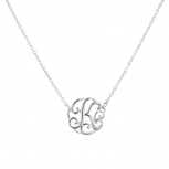 Silver Tone Script K Initial Personalized Necklace