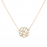 Gold Tone Script K Initial Personalized Necklace