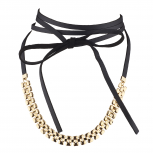 Gold Tone Textured Chain Black Faux Pu Leather Wrap Choker