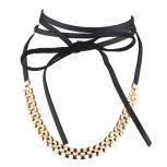 Gold Tone Textured Chain Black Faux Pu Leather Wrap Choker