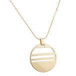 Gold Tone Geometric Circle Pendant Necklace