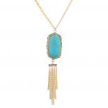 Gold Tone Turq Marble Stone Chain Tassel Long Pendant Necklace