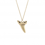 Burnished Gold Tone Casted Shark Tooth Pendant Necklace