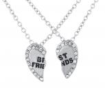 Silvertone Bling Broken Heart BFF Best Friends Necklaces 2 PCS