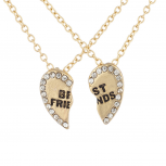 Goldtone Bling Broken Heart BFF Best Friends Necklaces 2 PCS