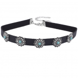 Black fuxLeather Silvertone Synthetic Turquoise Choker Necklace
