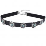 Black fuxLeather Silvertone Synthetic Turquoise Choker Necklace