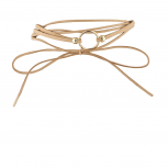 Trendy Tan and Goldtone Geo Circle Suede Wrap Choker Necklace
