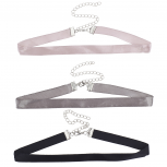 Three 3 Faux Satin Blush Grey Black Choker Necklace Set