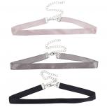 Three 3 Faux Satin Blush Grey Black Choker Necklace Set