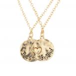 Goldtone Best Friend BFF Engraved Heart Pendant Necklaces 2pc