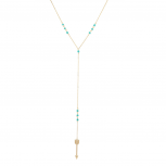 Gold Tone Turquoise Beads Arrow Lariat Y Shape Necklace