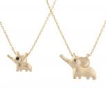Gold Tone Black Eye Baby Mommy Mother Elephant Necklace Set 2pc