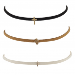 Gold Tone Ivory Brown Black Faux Suede Charm Choker Necklace Set