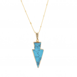 Gold Tone Synthetic Turquoise Stone Arrowhead Pendant Necklace
