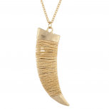 Matte Goldtone Hammered Wire Tusk Horn Long Pendant Necklace
