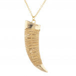 Goldtone Hammered Wire Tusk Horn Long Pendant Necklace