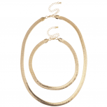 Gold Tone Smooth Shiny Herringbone Chain Necklace Choker Set 2PC