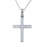Silver Tone Rhinestone Cross Religious Pendant Charm Necklace
