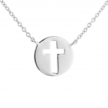 SilverTone cut out Cross Religious Circle Pendant Charm Necklace