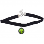 Black Velvet Choker Necklace Green Alien Head Charm Drop