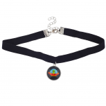 Black Velvet Choker Necklace Alien Spaceship Charm Drop