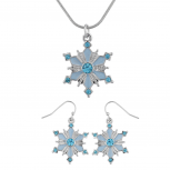 Silvertone Blue Enamel Rhinestone Snowflake Necklace Earring Set